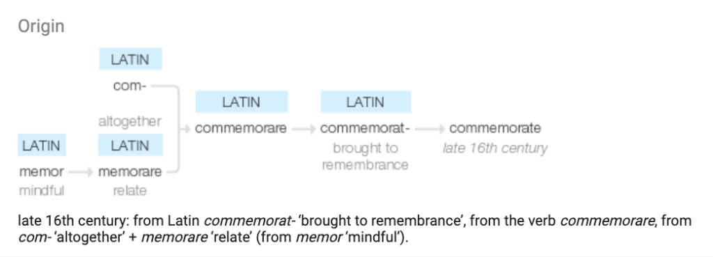 commemorate and mindful
